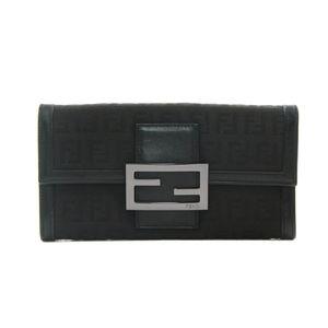 Fendi black zucca long wallet